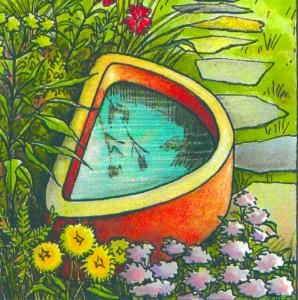 Laghetto in giardino e giochi d acqua nel verde for Vasche pesci da giardino